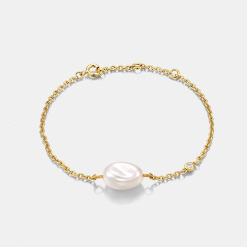 Wholesale Minimalism fresh water pearl with diamont bezel chain bracelet