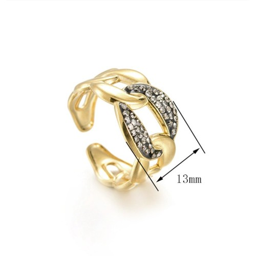 14k gold plating Chain link inspired adjustable ring with diamont