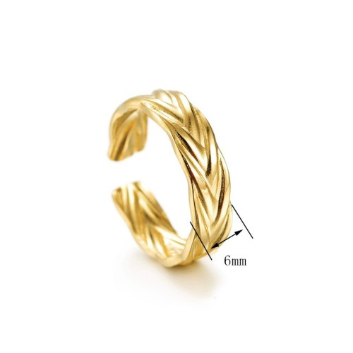 Bague Ajustable Tendance Plaqué Or wheat opening ring in stainless steel