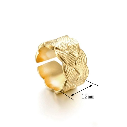 Weave pattern adjustable ring in 14k gold plating stainless steel