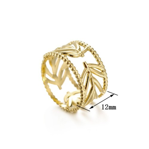 14k gold plating leaf branch adjustable ring in stainless steel