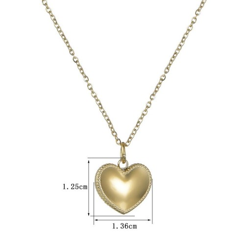 Love heart pendant necklace in 14k gold plating steel