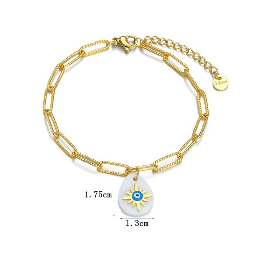Paper clip chain bracelet with charm of north star and eye