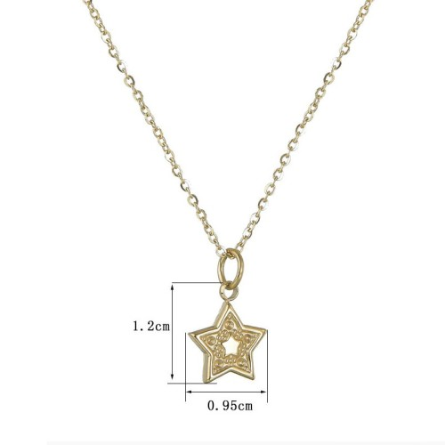 High quality stainless steel star pendant necklace in gold plating