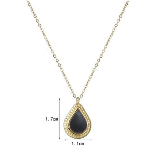 Gold and black resin pear drop necklace in stainless steel