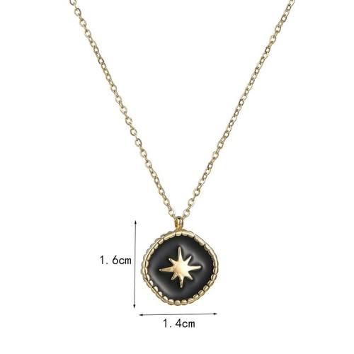 Gold and black resin starburst medallion necklace in stainless steel