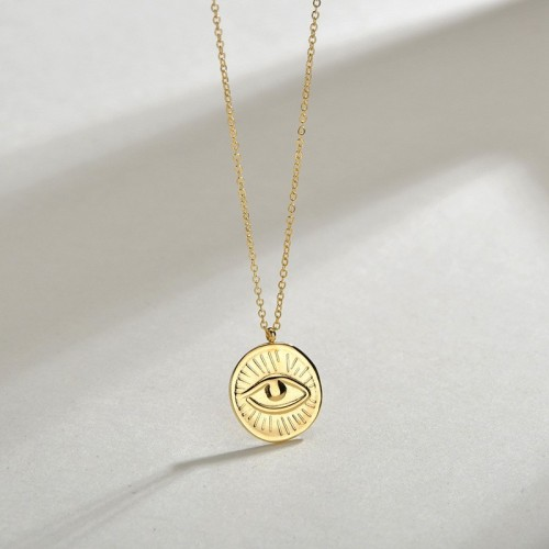 Eye of evil medallion pendant necklace in 14k gold plating steel