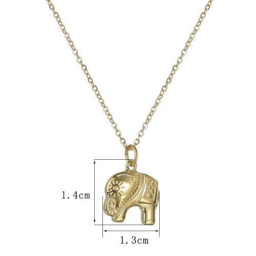 Good luck elephant necklace in yello gold plating stainless steel