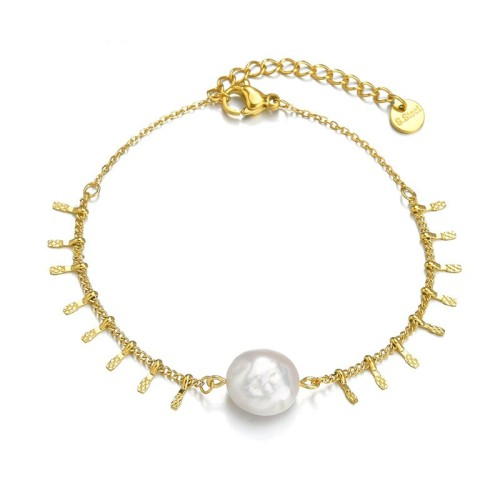 14k gold plating tassels chain bracelet with fresh water pearl