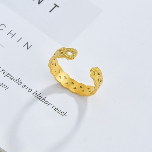 Vintage interweave adjustable ring in gold plating stainless steel