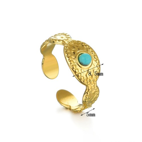 Oval Hammered Gold Plating Stainless Steel Ring with Turquoise