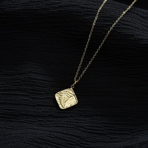 Tropical palm leaf square pendant necklace in stainless steel