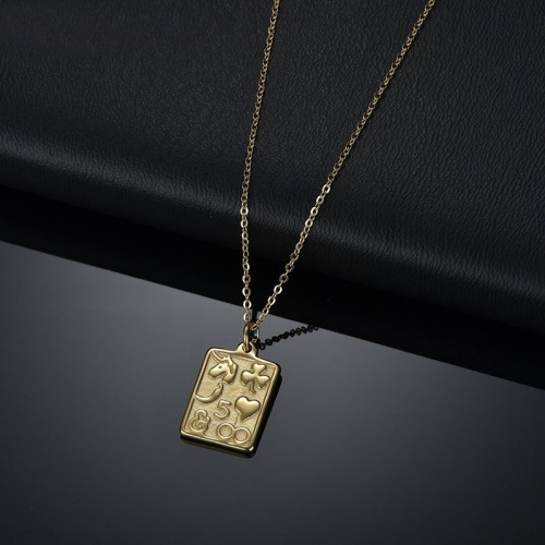 Lucky symbols tag pendant necklace in gold plating stainless steel