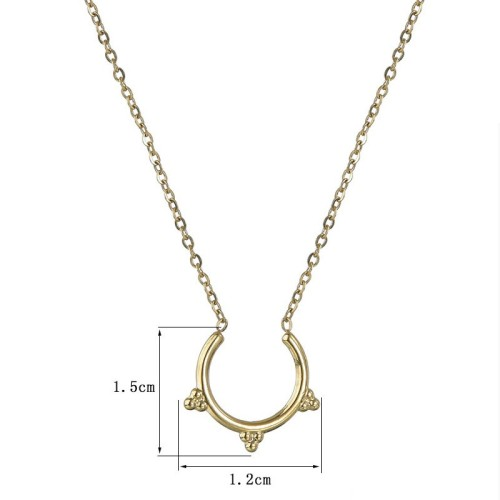 Half vintage frame necklace in gold plating stainless steel