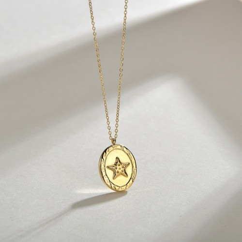 Star oval medal pendant necklace in 14k gold plating steel