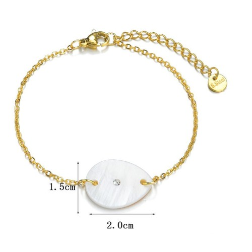 Stainless steel chain bracelet with waterdrop shell charm