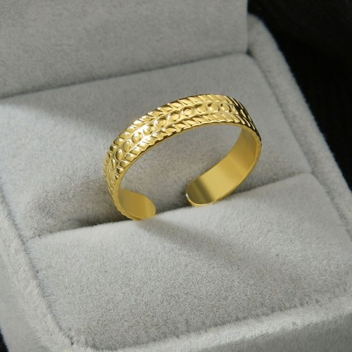 High quality yellow gold plating stainless steel adjustable ring