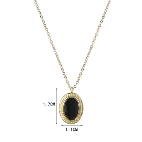 Gold and black resin medallion necklace in stainless steel