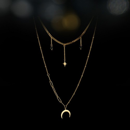 Crescent moon and star black bead layered necklace in stainless steel, Long-lasting