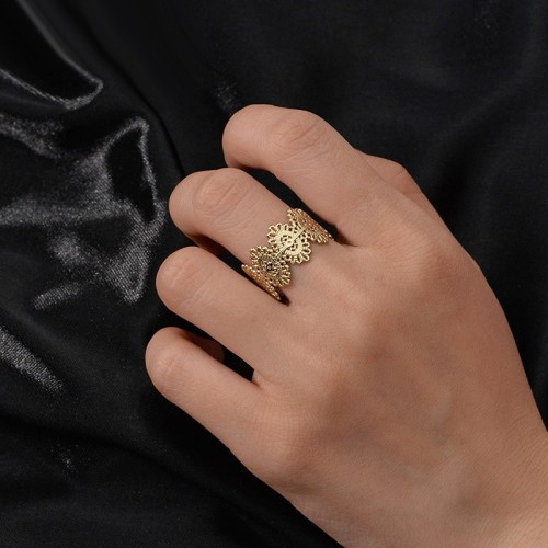 Adjustable lace ring in gold plating stainless steel