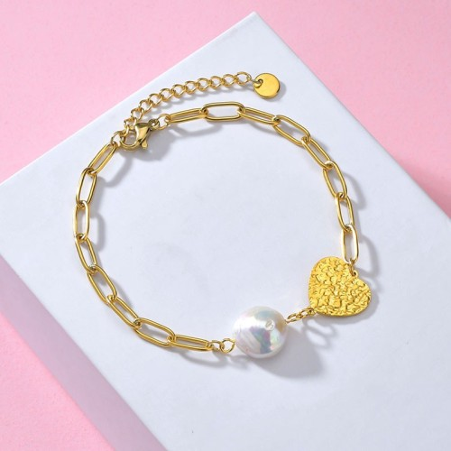 Hammered heart and irregular clip chain bracelet