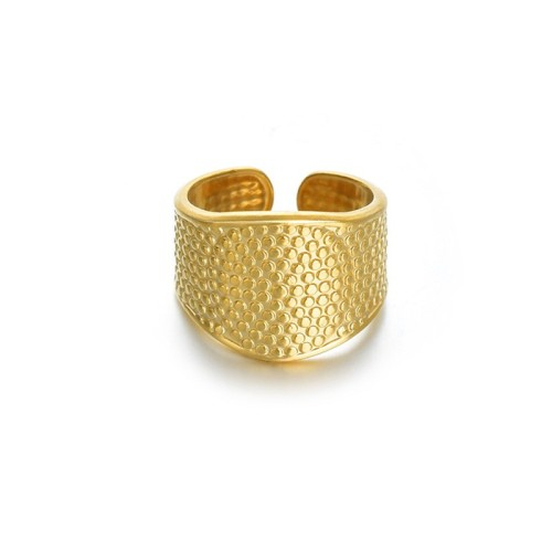 Opening dotted ring in 14k gold plating stainless steel