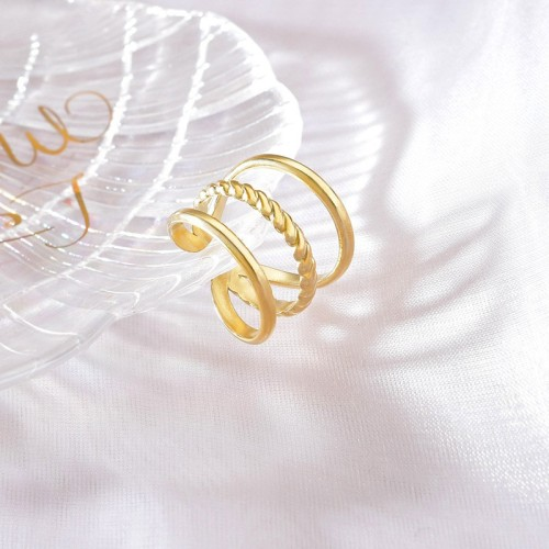 Adjustable triple band ring in 14k gold plating stainless steel