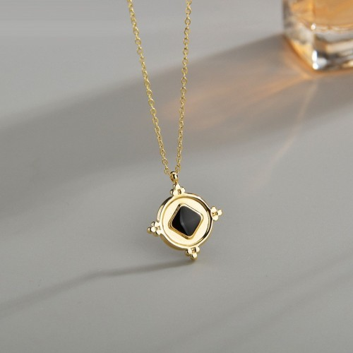 Vintage medal with black square enameling necklace in stainless steel
