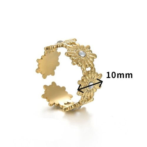 Opening daisy flower ring in gold plating stainless steel