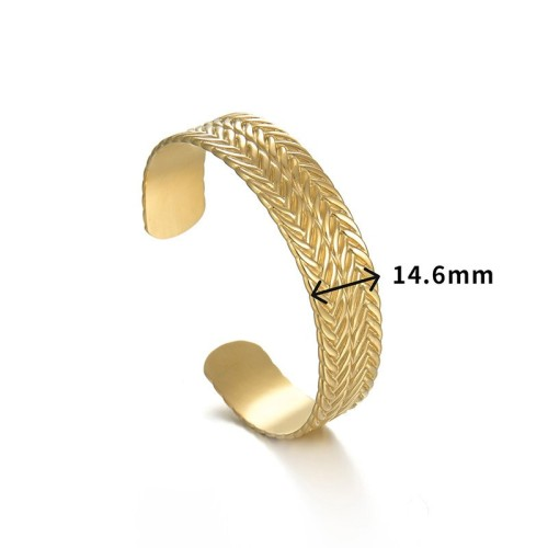 Double row of wheat cuff bracelet in gold plating stainless steel