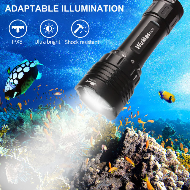 DL30 21700 Diving Flashlight 3600lm Triple LH351D High CRI Magnetic Control Ring Switch