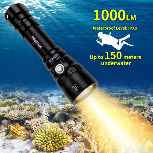 WK20 Diving Flashlight 1000lm 18650 Dive Light Warm Color XPL 3000K