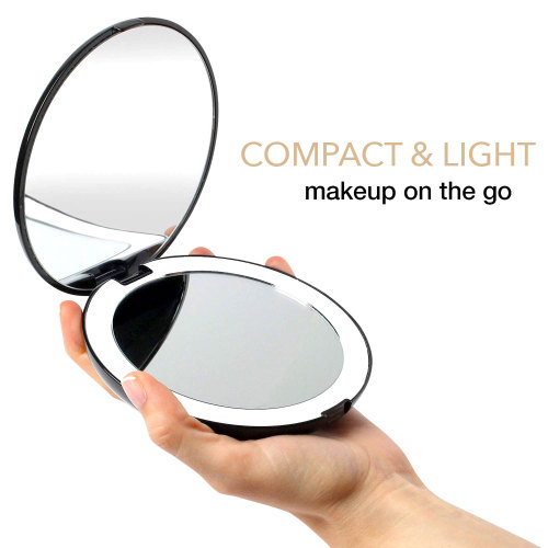 "5"" LED Lighted Travel Makeup Mirror, 1 X /5 X Magnifying Compact Handheld Vanity Mirror, Portable for Handbag, Purse, Pocket, Folding Double Sided Mirror, Illuminated Mirror with Lights"