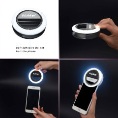 Selfie Ring Light, Rechargeable Selfie Fill Light with 40 LED Bulbs, 3 Lighting Modes Clip on Circle Light Built-in Battery, Makeup Light Ring for Phone Selfie Photography Video Livestream