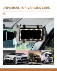 Car Visor Vanity Mirror, 3 Light Group Car Vanity Mirror Type-c Powered, Dimmable Sun Visor Mirror with Touch on Screen
