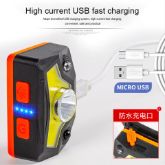 USB LED rechargeable Headlamp Hands-Free Headlight with Red Light Power Indicator Magnet