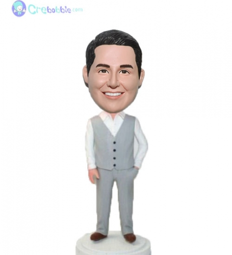 Custom groomsmen bobble head doll