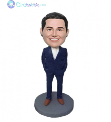 Groomsman bobblehead in navy suit