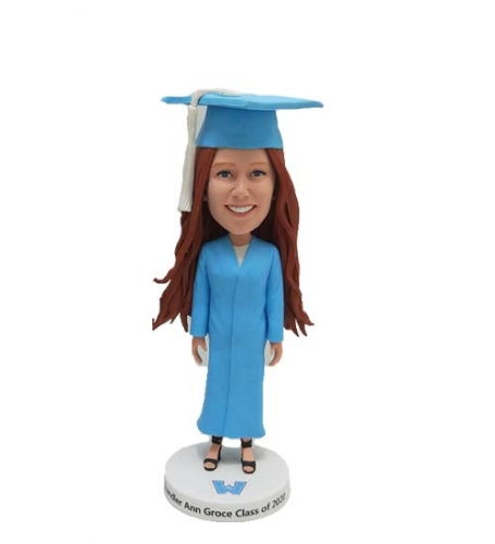 Custom Bobbleheads in Blue Graduation Gown