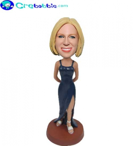 Navy dress girl bobbleheads