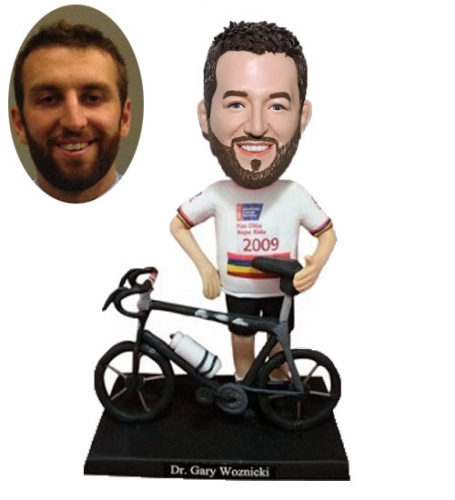 Custom bobblehead riding bicycle