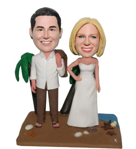 Custom Wedding Bobbleheads Beach with Palm Tree