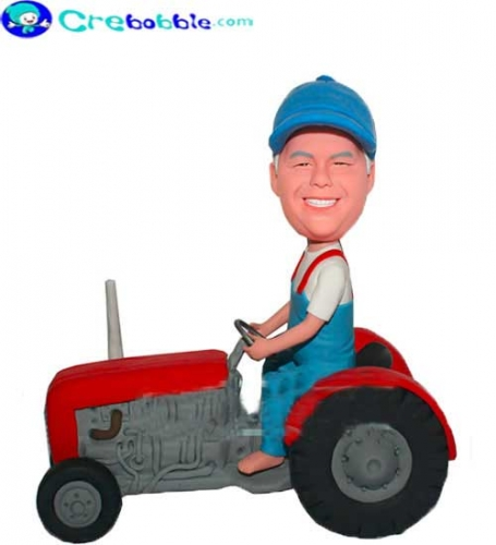 Bobble head driving tractor