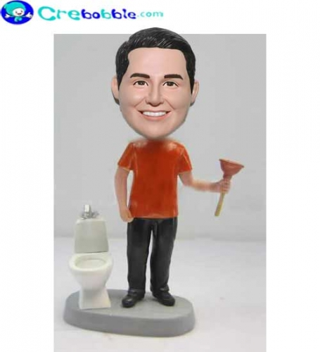 Funny bobbleheads Wash The toilet