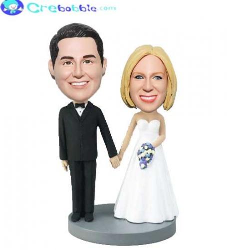 Classical bobblehead wedding cake toppers