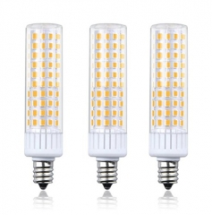 Dimmable 8.5W E12 LED Light Bulb, T3/T4 Candelabra Base E12 Ceiling Light 100W Halogen Replacement Candle Corn Bulb, 3-Pack