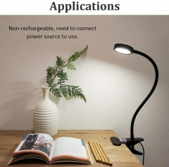 Bonlux LED Desk Lamp with Clamp 5 Watt Dimmable Reading Light Eye-Care USB Table Lamp, 3 Light Colors Switchable LED Bedside Lamp for Kids Baby Children Night Lighting, Twistable Tube Clip Laptop Lamp (Switch Dimmable, Black)(1 pack)