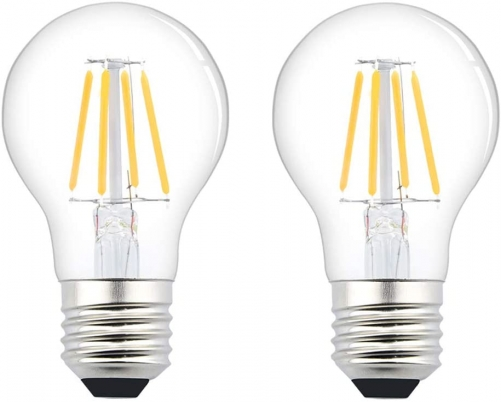 Bonlux 12V/24V E26 LED Filament Bulb - 4W A19 Edison Filament LED Light Bulb E26 Medium Base Lamp Low Voltage Battery System RV Marine Boat Solar Train Lighting Warm White/Day Light 2700K (2-Pack)