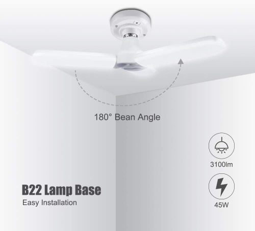 Bonlux B22 LED Garage Light, Cool White 6000K Trefoil Folding Ceiling Fan Light, 45W Super Bright Daylight Deformable LED Strip with 3 Adjustable Panel Non-Dimmable for Warehouse Workshop Basement