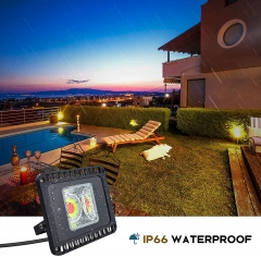Bonlux LED RGB Floodlight Outdoor 50W Super Bright Dimmable Color Changing Garden Light with Remote Control, IP66 Waterproof LED Security Light with 12 Colors 4 Modes Ideal for Decoration, Festival